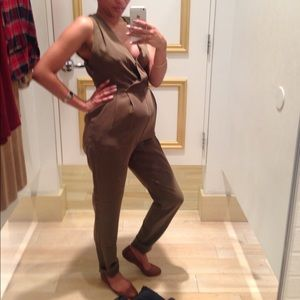 Army Green zip up jumpsuit